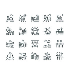 Farming landscape line icons rural houses vector