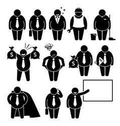 fat businessman business man worker stick figure vector image