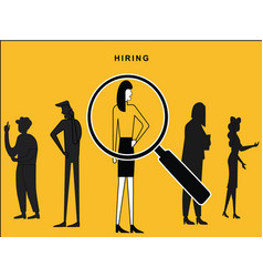 Female hired with lens focus vector