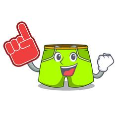 Foam finger fashion short pants isolated on mascot vector