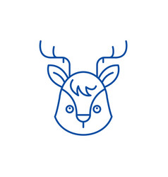 funny moose line icon concept funny moose flat vector image