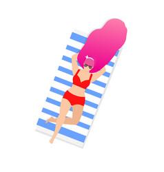 girl on beach sunbatopless isolated clip art vector image