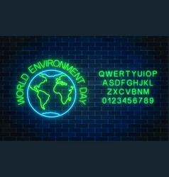 Glowing neon sign of world environment day with vector