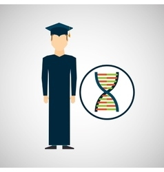 Graduate student man dna genetics vector