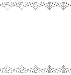 Halloween double spider web border on white vector