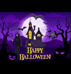 Halloween ghosts bats pumpkin and death skeleton vector