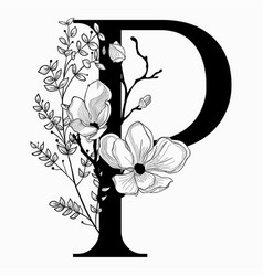 Hand drawn floral uppercase p monogram and vector