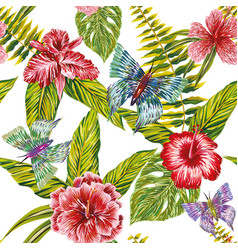 hand drawn tropical leaves flowers and butterfly vector image