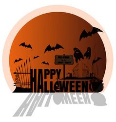 Happy halloween design orange sticker concept art vector