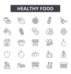 healthy food line icons for web and mobile design vector image