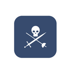 Icon skull with crossed sabers vector