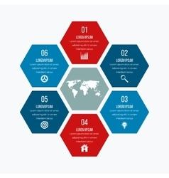 Infographics six hexagons vector