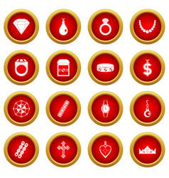 Jewelry items icon red circle set vector