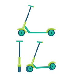 Kick scooters different angles set push scooter vector