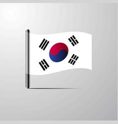 Korea south waving shiny flag design vector