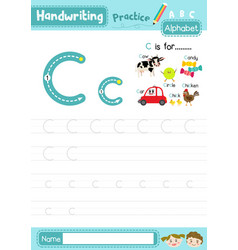 Letter c uppercase and lowercase tracing practice vector