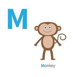 Letter m monkey zoo alphabet english abc vector