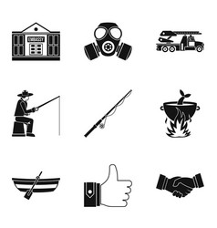 Level up icons set simple style vector