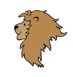 lion cute funny cartoon head vector image