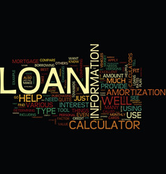 Loan calculator what is it text background word vector