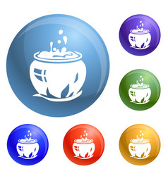 magic cauldron icons set vector image