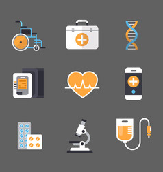 medical icon set medicine equipment sign hospital vector image