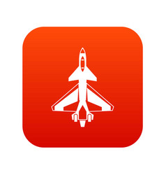 military fighter jet icon digital red vector image