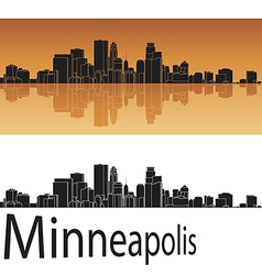 Minneapolis skyline in orange background vector image