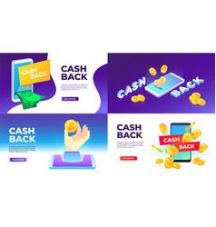 Mobile cashback banner golden coins spend back vector
