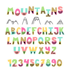 Mountains font hand drawn english alphabet cute vector