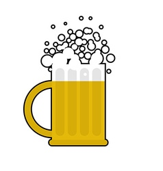 Mug of beer on white background large cup for vector
