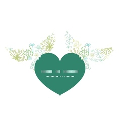 Mysterious green garden birds holding heart vector