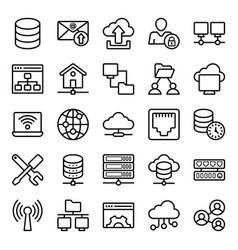 Network hosting line icons pack vector