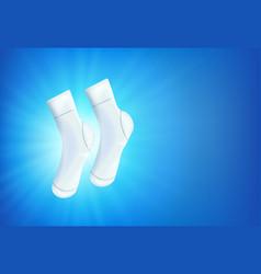 pair shiny white socks on blue background vector image