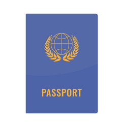 Passport cover front view solid and flat color vector