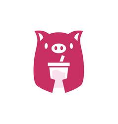 pig cup drink logo icon vector image