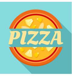 Pizza label logo flat style vector