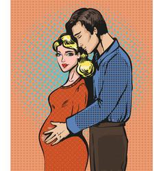 Pop art of pregnant woman vector
