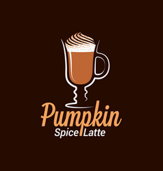 Pumpkin spice latte logo design background vector