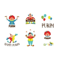 purim template design set with clowns Jewih vector image