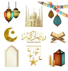 Ramadan kareem realistic set vector