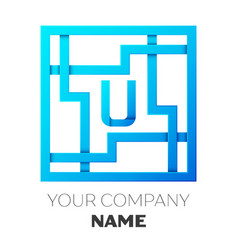 Realistic letter u logo in colorful square maze vector