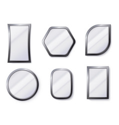 realistic mirrors reflective mirror surface in vector image