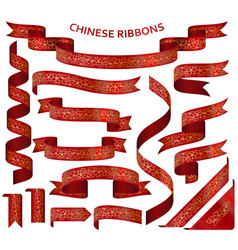 realistic red ribbons with golden chinese ornament vector image