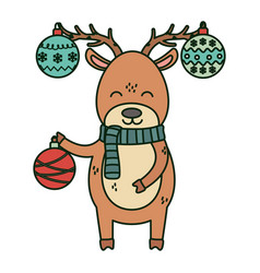 reindeer with hanging balls horns celebration vector image