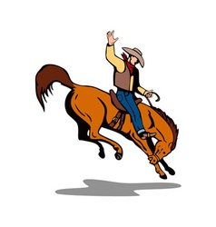 Rodeo cowboy riding horse vector