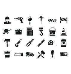 Safety building reconstruction icons set simple vector