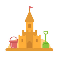 Sandcastle with toys flat icon vector