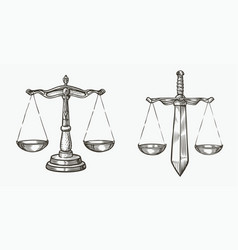 Scales justice sketch jurisdiction equity vector