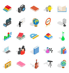 schoolbook icons set isometric style vector image